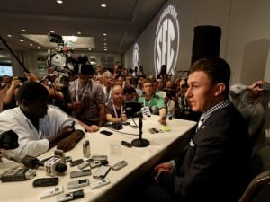 It's been a long offseason for Johnny Manziel. This was his view at SEC media day this past summer.