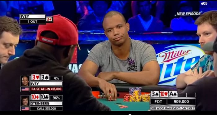 This was a big all-in moment for professional poker player Phil Ivey as seen on the ESPN World Series of Poker