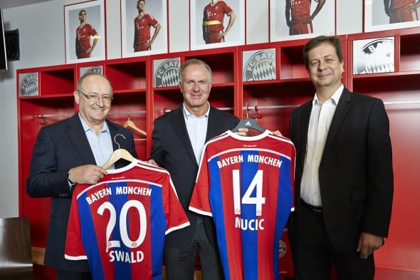 SAP and FC Bayern Munich announce their partnership during a press conference (from left to right): Gerhard Oswald (Member of the Executive Board of SAP SE, Scale, Quality & Support), Karl-Heinz Rummenigge (Executive Board Chairman, FC Bayern Munich), Luka Mucic (Member of the Executive Board of SAP SE, Chief Financial Officer, Chief Operating Officer)