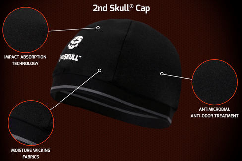 2nd Skull Protective Skull Cap Fits Under Any Helmet XRD Impact-Absorbing Technology