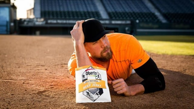 Hunter Pence has taken his entertaining social media presence and turned into a digital series with Oberto beef jerky (Courtesy of Oberto)