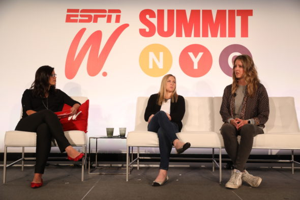 Alison Overholt with Kendall Coyne Schofield and Becca Roux during the espnW Summit NYC.