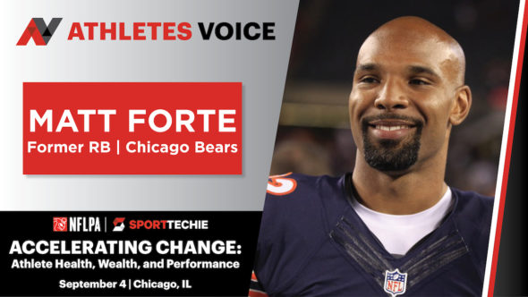 Matt Forte speaking at SportTechie's